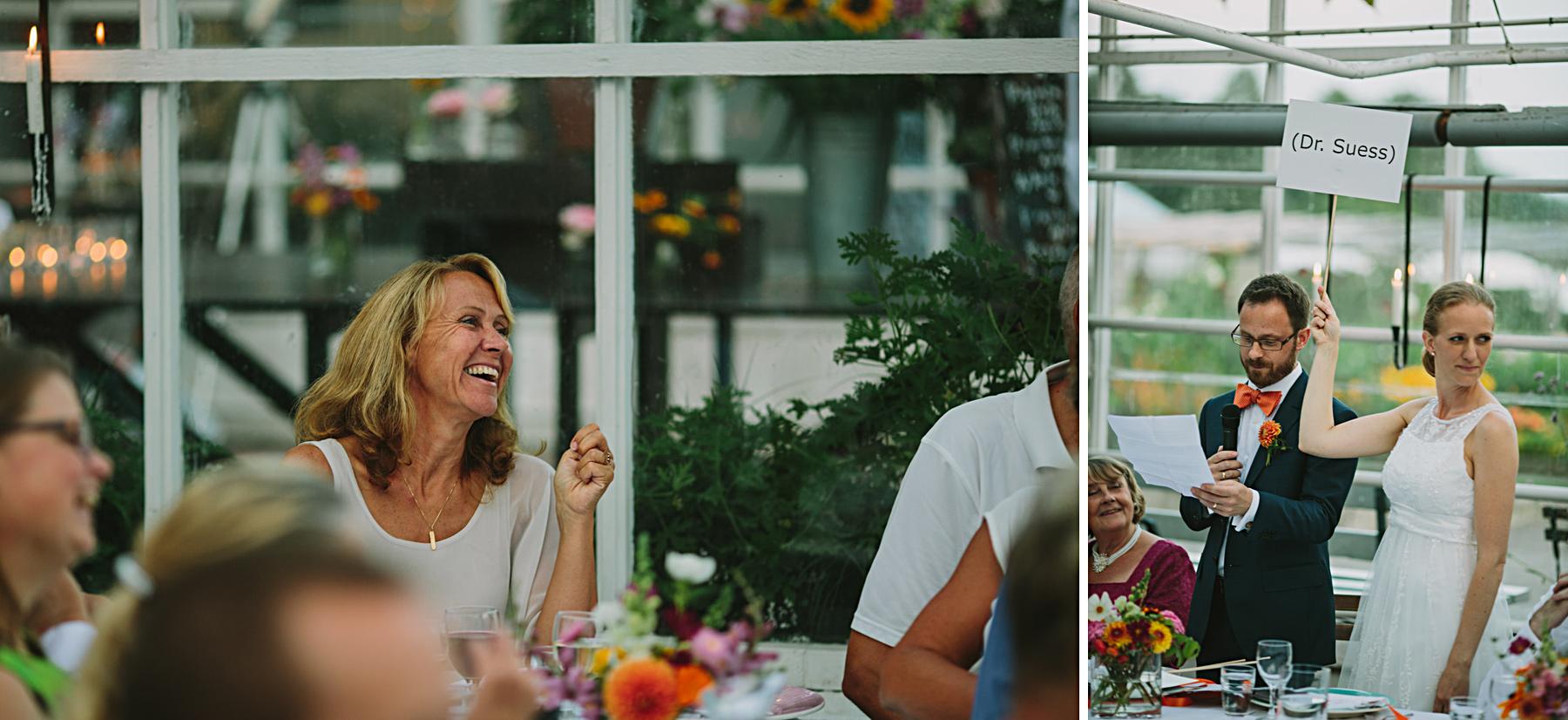 tal på bröllopsmiddag rosendals trädgårdscafe