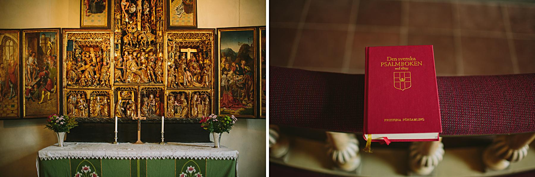 Altare och psalmbok Frustuna Kyrka