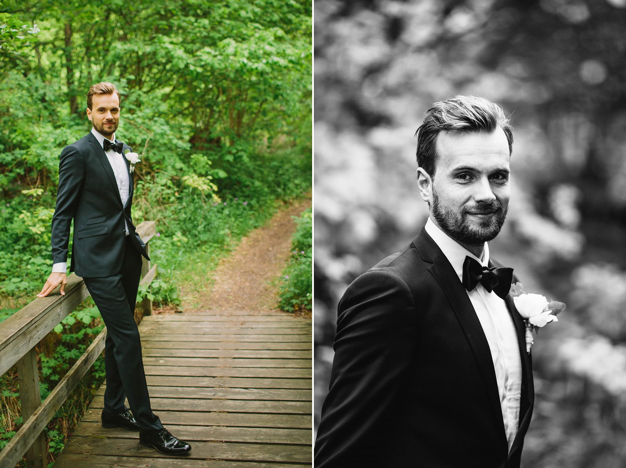 Porträttbilder på Dag på bron i skogen