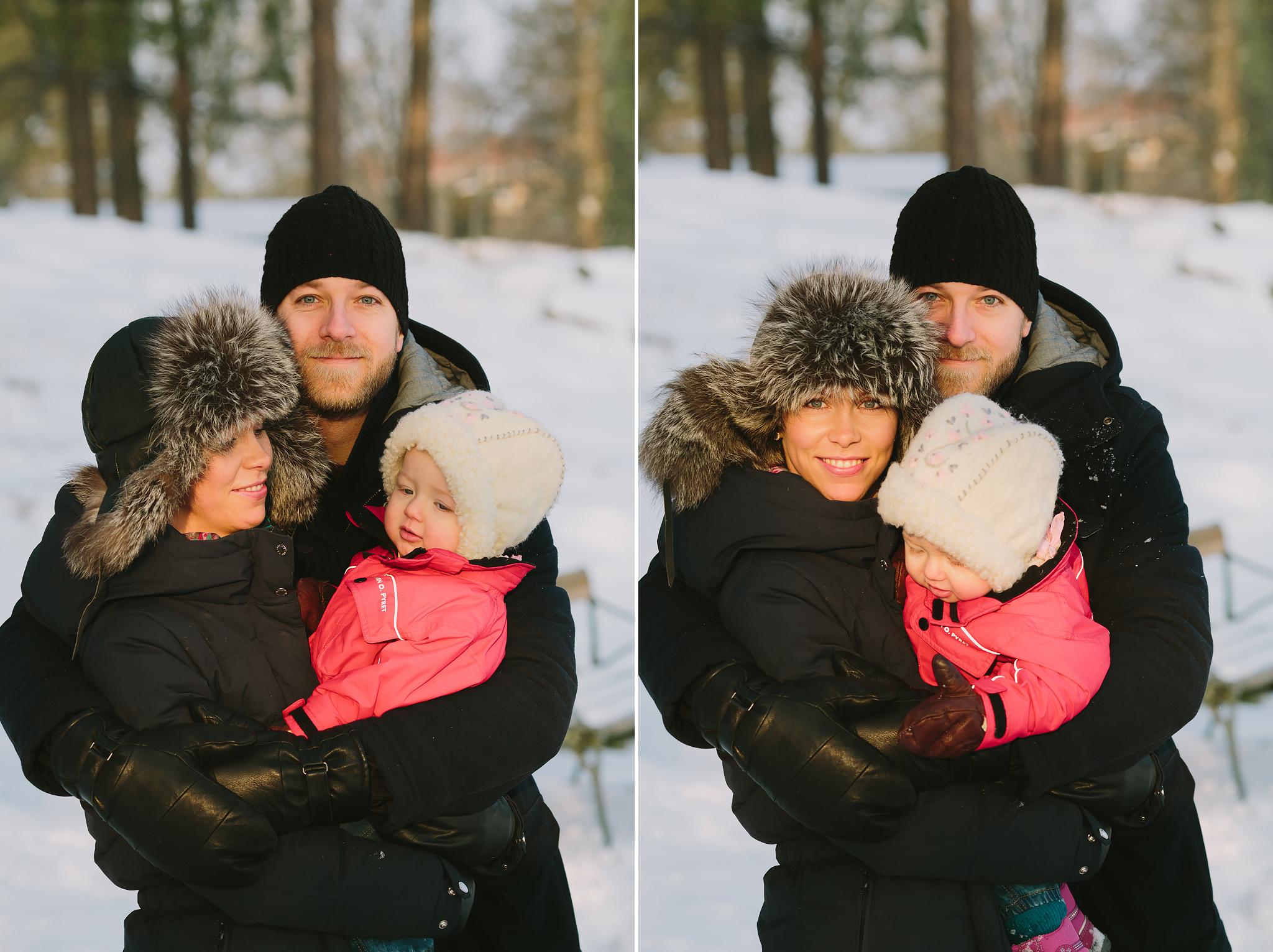 Vinterporträtt på familjen