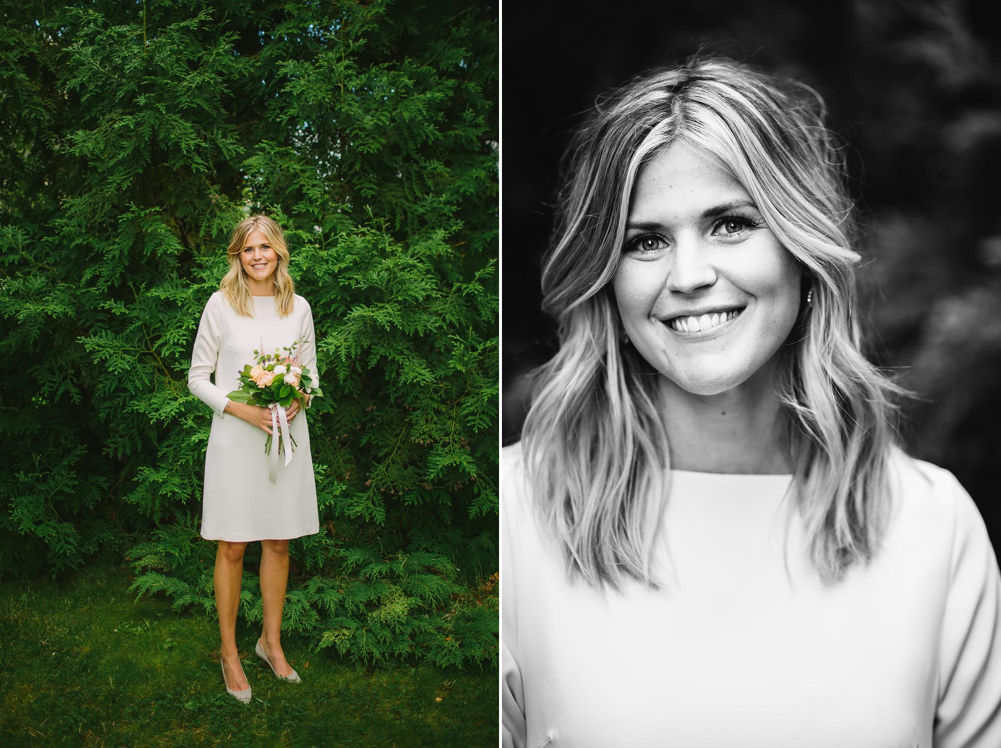 bild på bruden i parken
