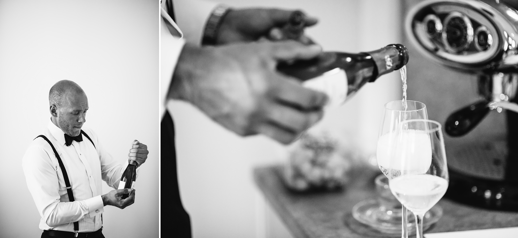 champagne till gästerna på hotell villa anna