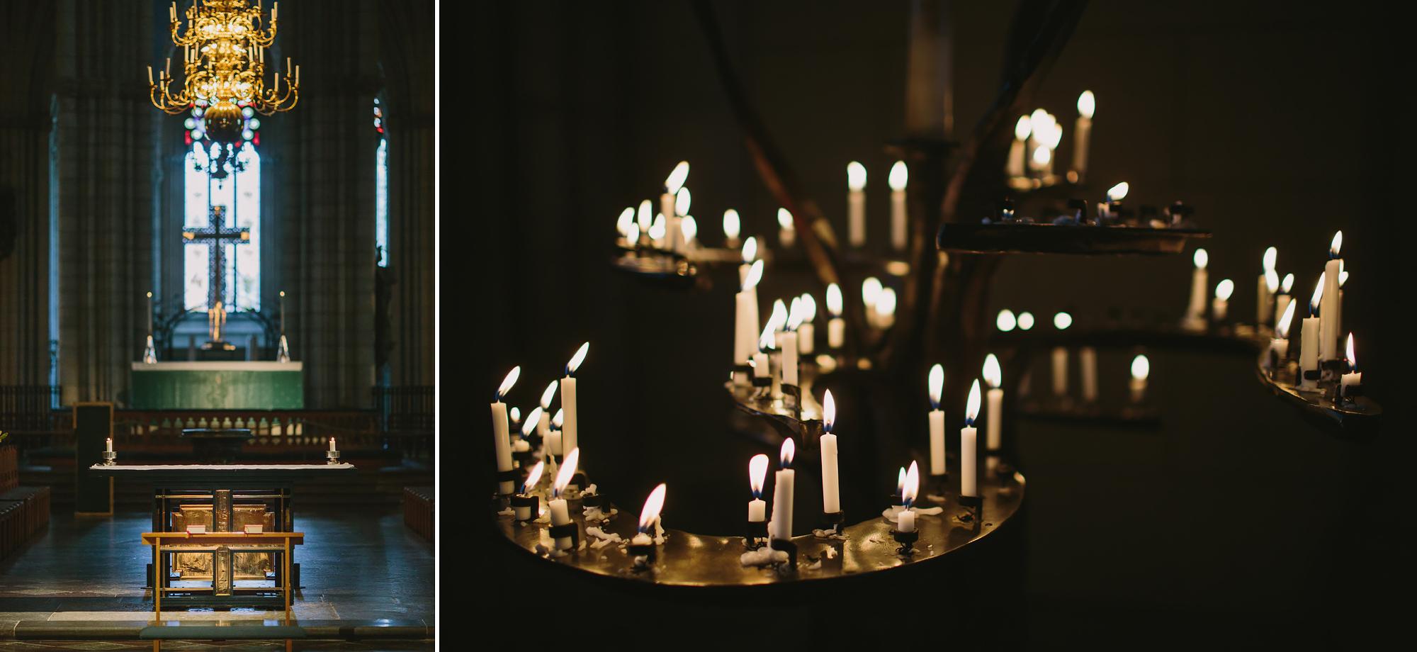 altaret och ljushållare