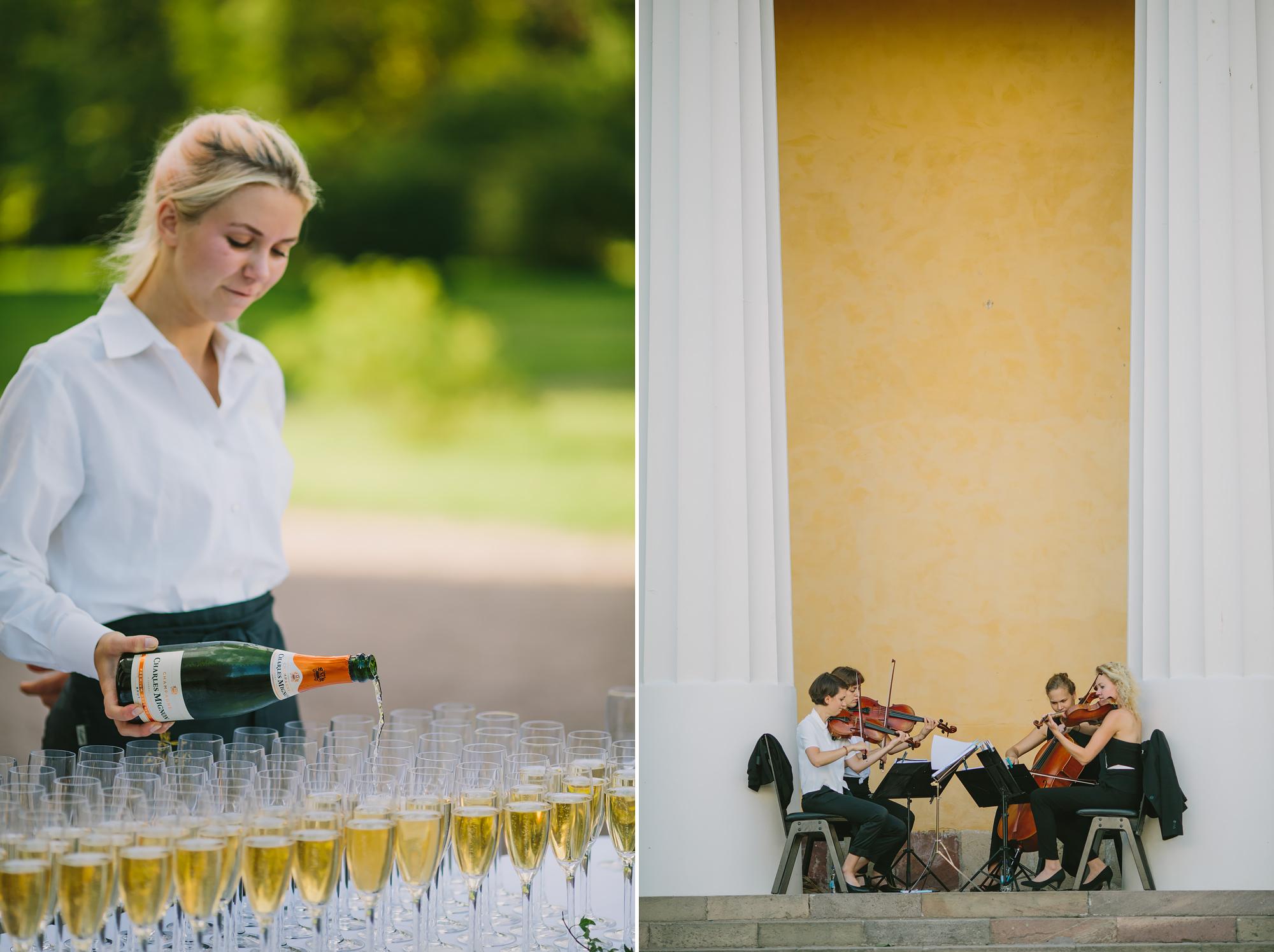 champagne och stråkkvartett vid bröllopsmingel